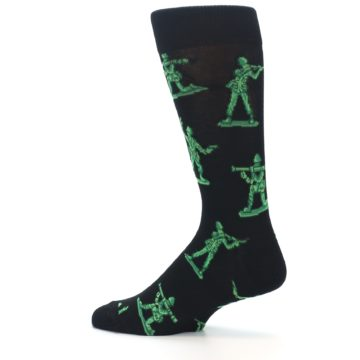 Image of Green Black Toy Army Men Men's Dress Socks (side-2-13)