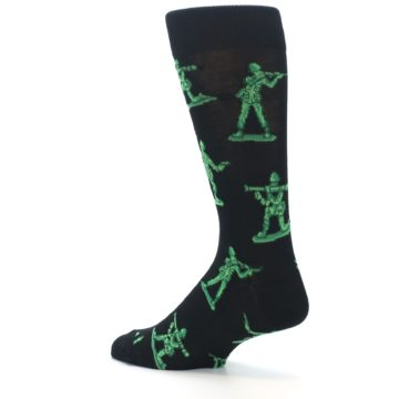 Image of Green Black Toy Army Men Men's Dress Socks (side-2-back-14)