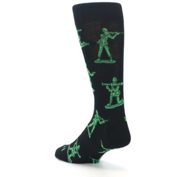 Image of Green Black Toy Army Men Men's Dress Socks (side-2-back-15)