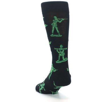 Image of Green Black Toy Army Men Men's Dress Socks (side-2-back-16)