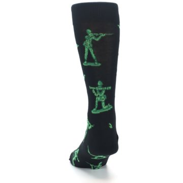 Image of Green Black Toy Army Men Men's Dress Socks (back-17)