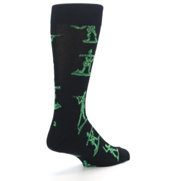 Image of Green Black Toy Army Men Men's Dress Socks (side-1-back-22)