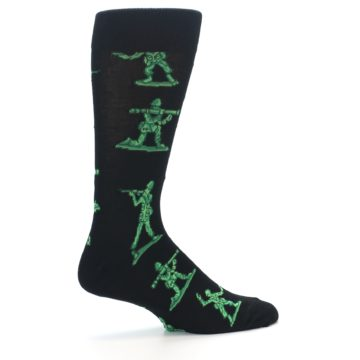 Image of Green Black Toy Army Men Men's Dress Socks (side-1-24)