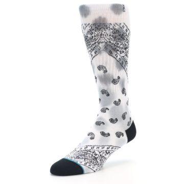 Image of White Black Grey Paisley Men's Casual Socks (side-2-front-08)