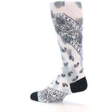 Image of White Black Grey Paisley Men's Casual Socks (side-2-13)