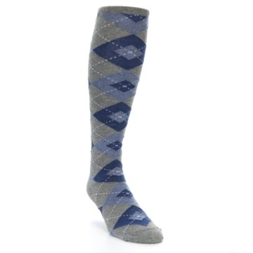 Image of Gray Blue Argyle Men's Over-the-Calf Dress Socks (side-1-front-02)