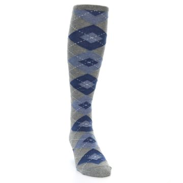 Image of Gray Blue Argyle Men's Over-the-Calf Socks (side-1-front-03)