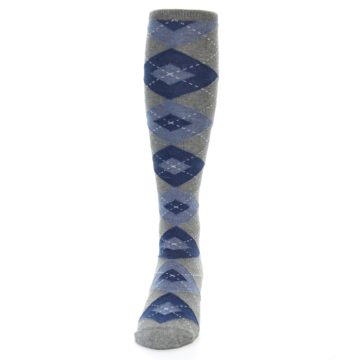 Image of Gray Blue Argyle Men's Over-the-Calf Dress Socks (front-05)