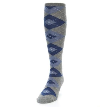 Image of Gray Blue Argyle Men's Over-the-Calf Dress Socks (side-2-front-06)
