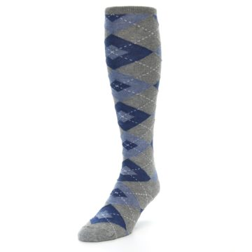 Image of Gray Blue Argyle Men's Over-the-Calf Socks (side-2-front-07)