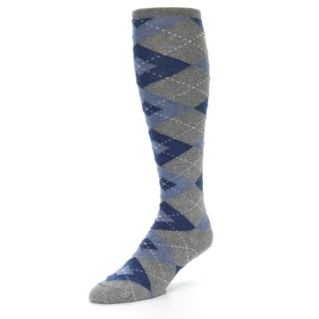 Image of Gray Blue Argyle Men's Over-the-Calf Dress Socks (side-2-front-08)
