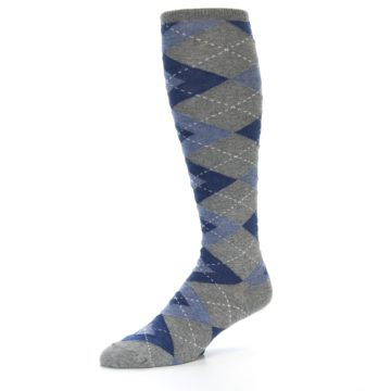 Image of Gray Blue Argyle Men's Over-the-Calf Dress Socks (side-2-09)