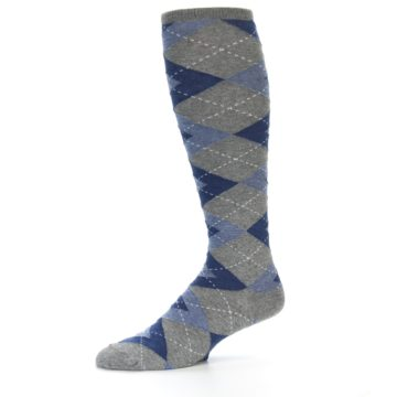Image of Gray Blue Argyle Men's Over-the-Calf Dress Socks (side-2-10)