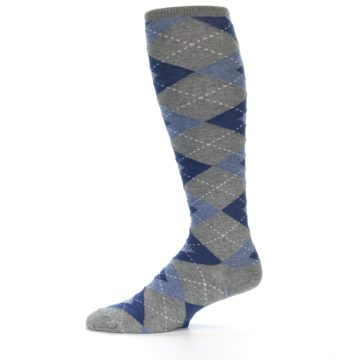 Image of Gray Blue Argyle Men's Over-the-Calf Dress Socks (side-2-11)