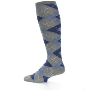 Image of Gray Blue Argyle Men's Over-the-Calf Dress Socks (side-2-13)