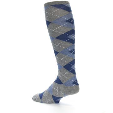 Image of Gray Blue Argyle Men's Over-the-Calf Dress Socks (side-2-back-14)