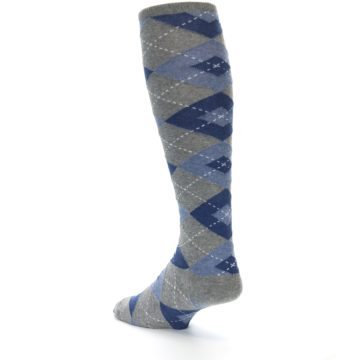 Image of Gray Blue Argyle Men's Over-the-Calf Dress Socks (side-2-back-15)