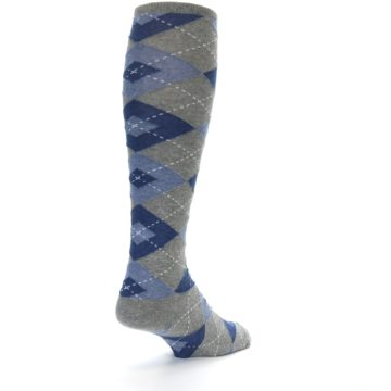 Image of Gray Blue Argyle Men's Over-the-Calf Dress Socks (side-1-back-21)