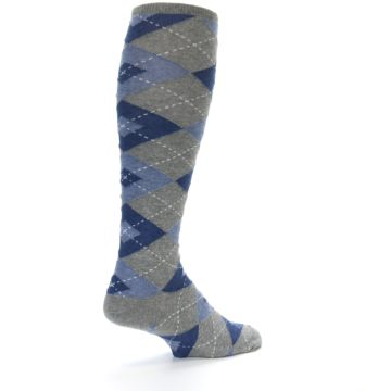 Image of Gray Blue Argyle Men's Over-the-Calf Dress Socks (side-1-back-22)
