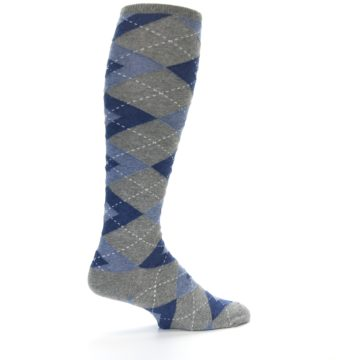 Image of Gray Blue Argyle Men's Over-the-Calf Dress Socks (side-1-23)