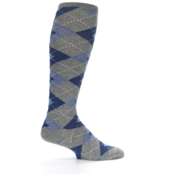 Image of Gray Blue Argyle Men's Over-the-Calf Dress Socks (side-1-24)