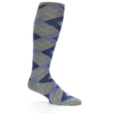 Image of Gray Blue Argyle Men's Over-the-Calf Dress Socks (side-1-25)