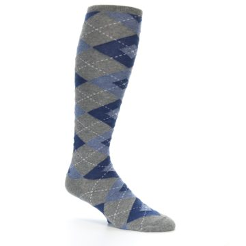 Image of Gray Blue Argyle Men's Over-the-Calf Dress Socks (side-1-26)