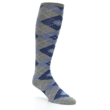 Image of Gray Blue Argyle Men's Over-the-Calf Dress Socks (side-1-27)
