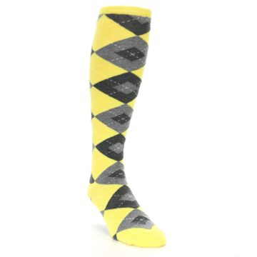 Image of Yellow Gray Argyle Men's Over-the-Calf Dress Socks (side-1-front-02)