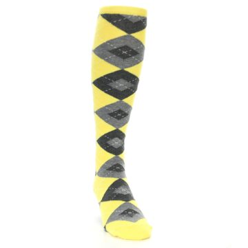 Image of Yellow Gray Argyle Men's Over-the-Calf Dress Socks (side-1-front-03)