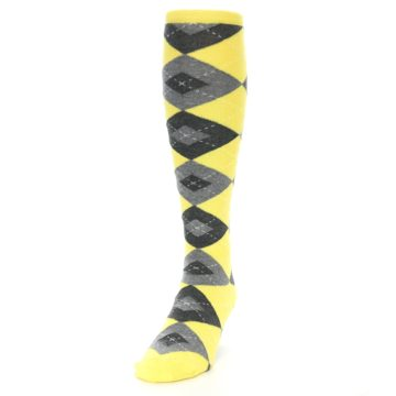 Image of Yellow Gray Argyle Men's Over-the-Calf Dress Socks (side-2-front-06)