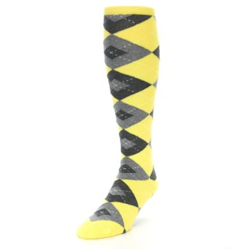 Image of Yellow Gray Argyle Men's Over-the-Calf Dress Socks (side-2-front-07)