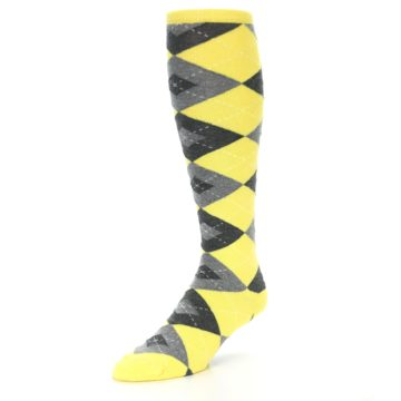 Image of Yellow Gray Argyle Men's Over-the-Calf Dress Socks (side-2-front-08)