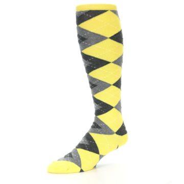Image of Yellow Gray Argyle Men's Over-the-Calf Dress Socks (side-2-09)