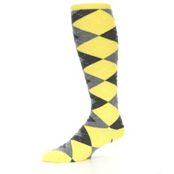 Image of Yellow Gray Argyle Men's Over-the-Calf Dress Socks (side-2-10)