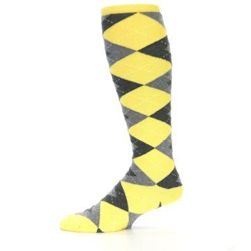 Image of Yellow Gray Argyle Men's Over-the-Calf Dress Socks (side-2-11)