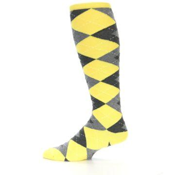 Image of Yellow Gray Argyle Men's Over-the-Calf Dress Socks (side-2-12)