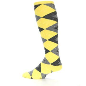 Image of Yellow Gray Argyle Men's Over-the-Calf Dress Socks (side-2-13)