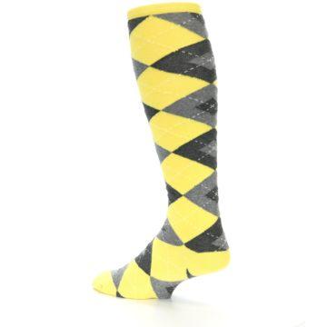 Image of Yellow Gray Argyle Men's Over-the-Calf Dress Socks (side-2-back-14)