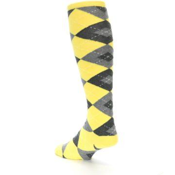 Image of Yellow Gray Argyle Men's Over-the-Calf Dress Socks (side-2-back-15)
