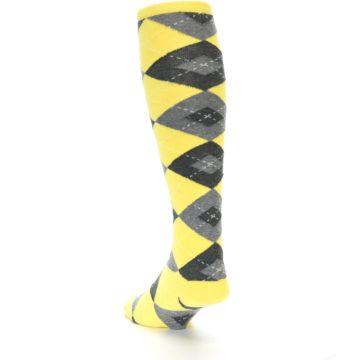 Image of Yellow Gray Argyle Men's Over-the-Calf Dress Socks (side-2-back-16)