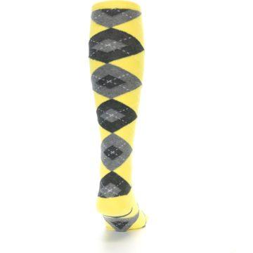 Image of Yellow Gray Argyle Men's Over-the-Calf Dress Socks (back-19)