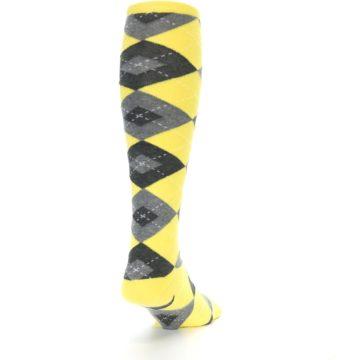 Image of Yellow Gray Argyle Men's Over-the-Calf Dress Socks (side-1-back-20)