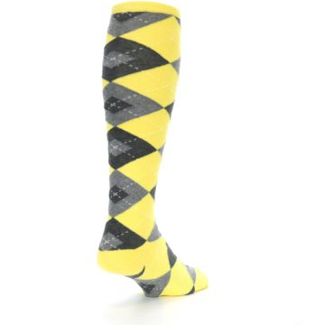 Image of Yellow Gray Argyle Men's Over-the-Calf Dress Socks (side-1-back-21)