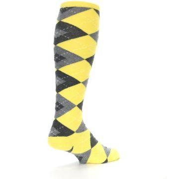 Image of Yellow Gray Argyle Men's Over-the-Calf Dress Socks (side-1-back-22)