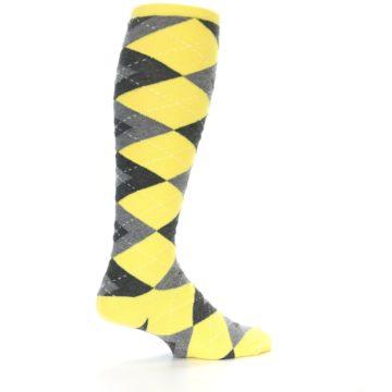 Image of Yellow Gray Argyle Men's Over-the-Calf Dress Socks (side-1-23)