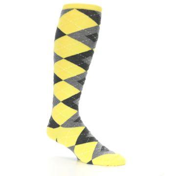 Image of Yellow Gray Argyle Men's Over-the-Calf Dress Socks (side-1-26)