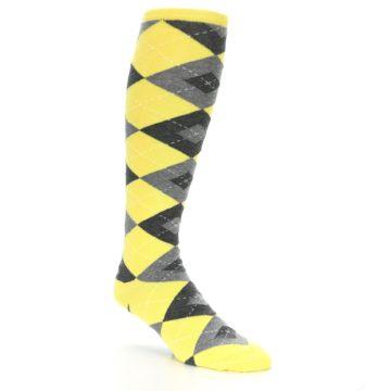 Image of Yellow Gray Argyle Men's Over-the-Calf Dress Socks (side-1-27)