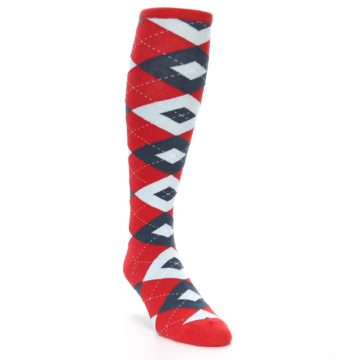 Image of Red Blue Argyle Men's Over-the-Calf Dress Socks (side-1-front-02)