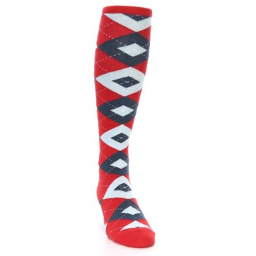 Image of Red Blue Argyle Men's Over-the-Calf Dress Socks (side-1-front-03)